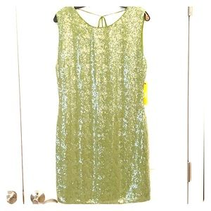 Alice + Olivia sequined moss cocktail dress.